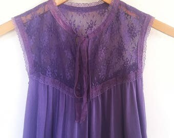 70's Nightgown // Vintage Nightgown // Purple Nightgown // Lace Nightgown