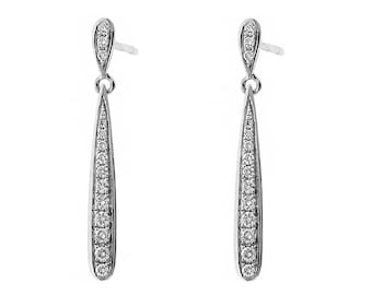 Long Rounded Drop Earrings with Diamonds in 18k White Gold