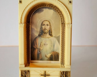 Vintage Plastic Holy Water Fountain Wall Hanging marked CMPC, Print of Jesus in an Arch