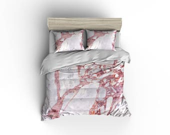 Pink and White Marble duvet cover
