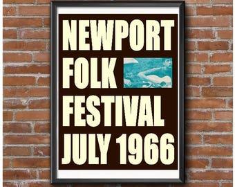 Newport Folk Festival Concert Poster – Rhode island Music Concert July 1966
