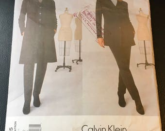 Vogue Calvin Klein  2005 Sewing Pattern Petite Jacket Top Pants Loose Fitting Lined Jacket Two Piece Sleeves Size 8
