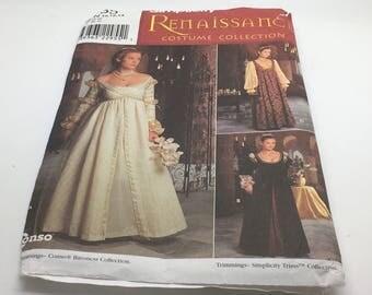 Simplicity 8735 Sewing Pattern Renaissance Medieval Wedding  The Ever After Dress Ball Gown Juliet Cap Skirt Theater Play Women  Size 10