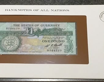 Banknotes Of All Nations Guernsey 1980 1 Pound GEM UNC    Franklin Mint Paper Money Souvenir Scrapbook Scrapbooking