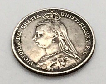 Great Britain 6 Pence Silver 1891  Queen Victoria  Sixpence In Her Shoe Good Luck Charm Gift For Bride