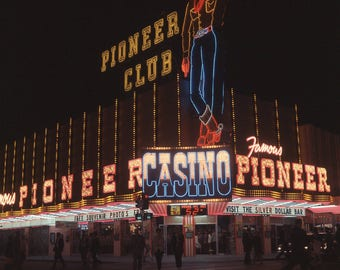 Vtg Color Transparent Photo Las Vegas Pioneer Casino 1960's At Night