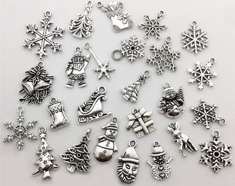50pcs Mixed Christmas Charm Collection Snowflake Socks Santa Claus Deer Charms Pendant for Jewelry Making DIY Crafts_M41