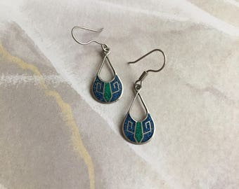 Vintage Sterling Silver Blue and Green Earrings