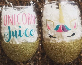Unicorn Juice - Glittered Stemless Wine Glass - Unicorn Lover Gift - Unique Wine Glass