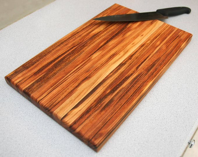 Featured listing image: Custom Handmade Edge-Grain Tiger Wood Exotic Cutting Board for cooking, cutting meat, vegetables, wedding gifts, handmade kitchen decor