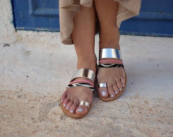 leather sandals,handmade sandals,silver leather,womens sandals,gifts,greek sandals,womens shoes,doughter sandals,sandals,mommy and me
