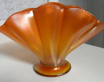 Antique Imperial Carnival Glass Tangerine ''WIDE PANEL'' Stretch Fan261) Vase - Vintage Art Glass - Iridized Collectible Glass(261)