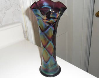 Antique Dugan Carnival Glass Purple ''LATTICE and POINTS'' Vase (8 1/2in) - Vintage Art Glass - Iridized Collectible Glass(128)