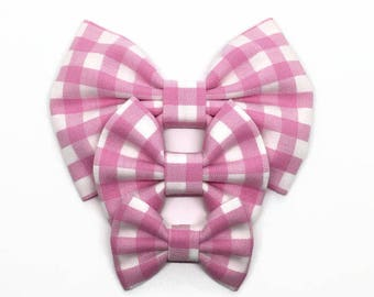 Valentine's Gingham Bow - Light Pink Hair Bow - Pink Gingham Fabric Bow - Pink Checkered Bow - Pink Gingham Headband