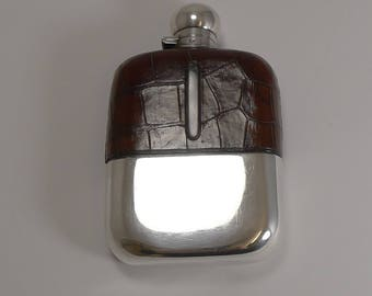 Large Antique English Silver Plate and Alligator Hip Flask by James Dixon