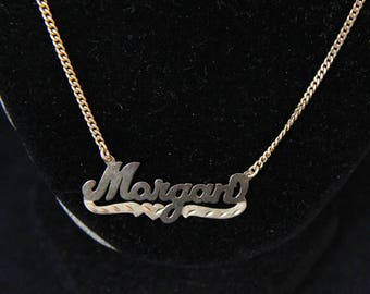"Estate 14K Yellow Gold 24"" Morgan Name Bib Necklace 7.4 Grams Signed JAD Mother's Day"