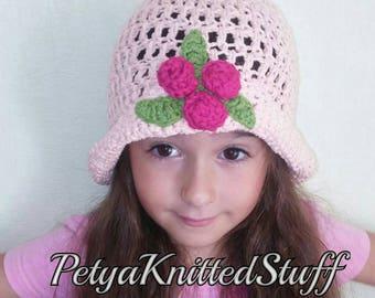 Children's crochet hat Pink roses