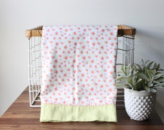 Soft Pink Floral Flannel Receiving Blanket