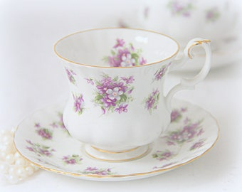 Vintage Royal Albert Bone China 'Sweet Violets' Cup and Saucer, Lady Size, England