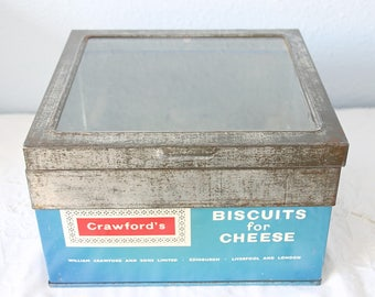 Hard to Find Vintage Shop Display Tin, Crawford's Biscuit's for Cheese, Glazed Hinged Lid, England
