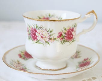 Vintage Paragon Cup and Saucer, Gentleman Size, Carnation Decor, England