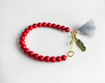 Handmade Bracelet With Coral Beads & Brass Lock