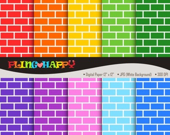 70% OFF Colorful Brick Cliparts, Colorful Brick Clipart Graphics, Personal & Small Commercial Use, Instant Download