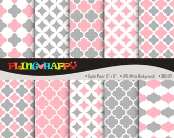70% OFF Quatrefoil Gray And Pink Digital Papers, Quatrefoil Pattern Graphics, Personal & Small Commercial Use, Instant Download