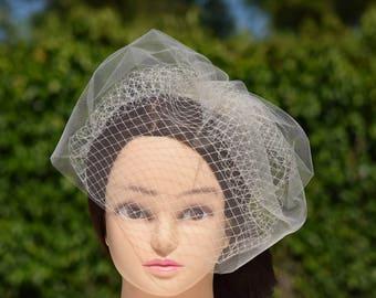 Double Birdcage Veil, Blusher Veil, Short Veil, Vintage Style Veil, Champagne Veil, Ivory Veil, Champagne Fascinator, Bridal Veil