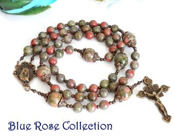 Vintage style Catholic rosary for men and women, Unakite gemstone rosary, Catholic gift, heartfelt, RCIA, retirement, Marian Consecration