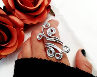 Wire Wrapping Boho Aluminum adaptable ring for her Women Jewelry adjustable spiral ring for her