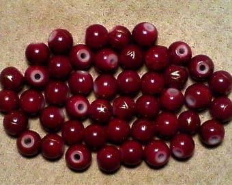 Dark red glass beads; very pretty dark red glass, round beads, gold splash, 5mm, 15pcs/1.80.