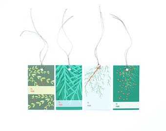 Set of 8 Holiday gift tags, Evergreen Christmas Gift Tags, Evergreen holiday gift tags, christmas gift tag set, Simple Christmas gift tags