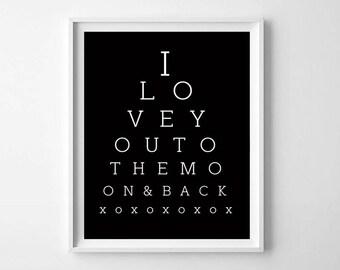 Eye Exam Print, Printable Art, Love PRINTABLE, Modern Nursery Decor, Eye Exam Art Print, Eye Exam Style Print, Kids Room Decor