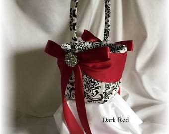 Black and White Madison Damask with Dark Red Wedding Flower Girl Basket, Madison Flower Basket, Wedding Baskets