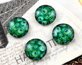 2 cabochon round 12 mm Peacock