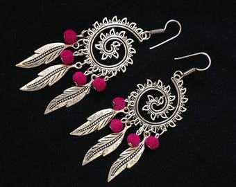 Silver statement earrings, fuschia earrings, spiral earrings, long silver earrings, boho earrings, silver dangle earrings, leaf earrings