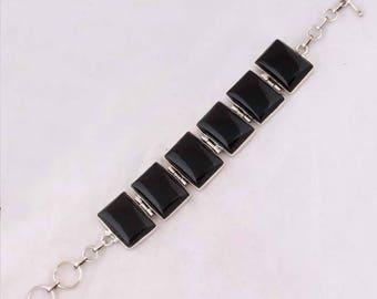925 sterling silver Black onyx gemstone bracelet