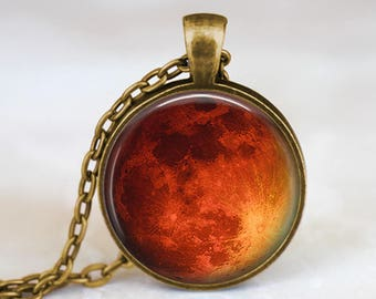 Red Moon  -  Space Handmade Pendant Necklace