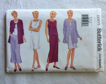 Butterick 6005 UNCUT New Misses Size 8, 10, and 12 Jacket, Top, Dress, and Skirt Pattern