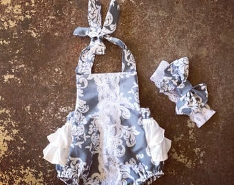 Grey and White  Ruffles and Lace Romper with matching headband