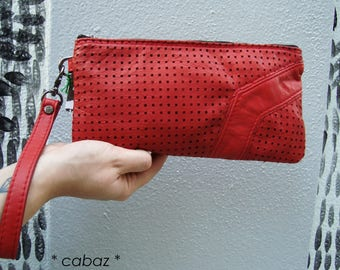 Pouch, small, red, leather bag, cabaz