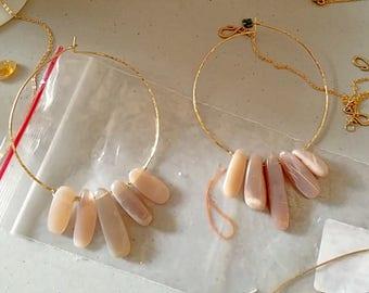 Large moonstone hoop earrings