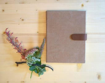 Journal Sketchbook Camel Suede with Brown Leather Magnetic Strap