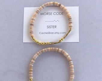 """Morse Code """"SISTER"""" Bracelet"""