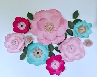 Paper flowers wall decor baby girl nursery room decor newborn maternity flower wall decor wedding birthday party flower backdrop