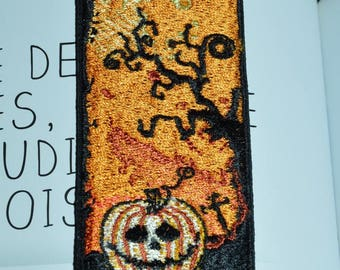 halloween embroidered bookmark