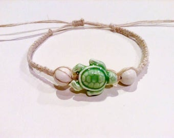 Green Sea Turtle Bracelet - Sea Turtle Jewelry - Beachy Jewelry - Hemp