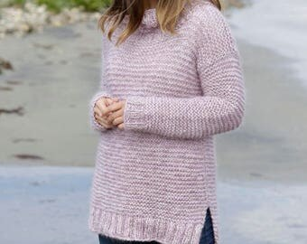 Knit luxury monan sweater,  jumper in  Baby Alpaca , Kid  Mohair and Silk. Pink Shades, Soft and light