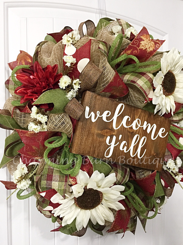 Welcome wreath year round wreath fall wreath welcome yall welcome wreath year round wreath fall wreath welcome yall wreath rubansaba